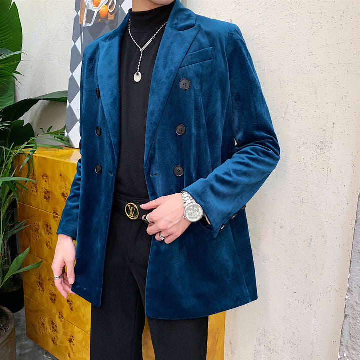 Men's Casual Double Breasted Velvet Blazer