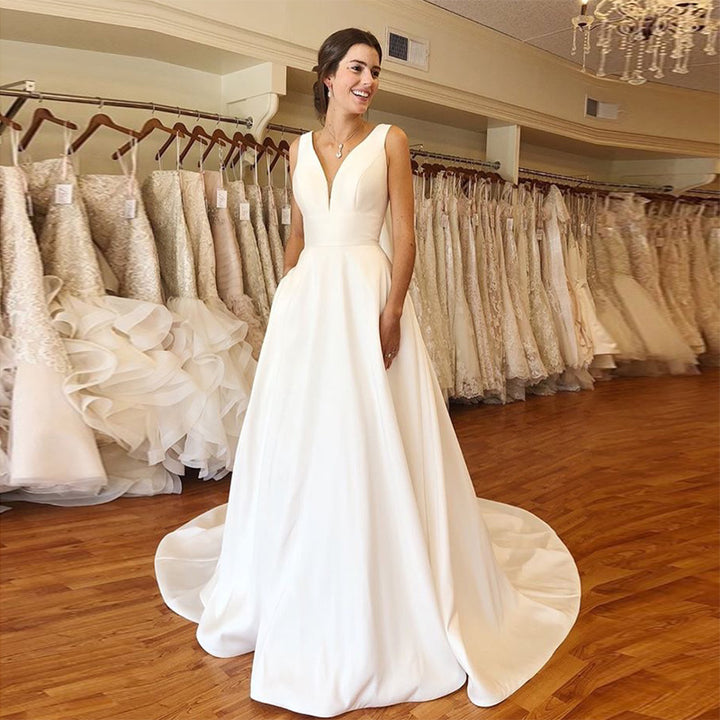 Women's Satin V-Neck Wedding Dress With Chapel Train