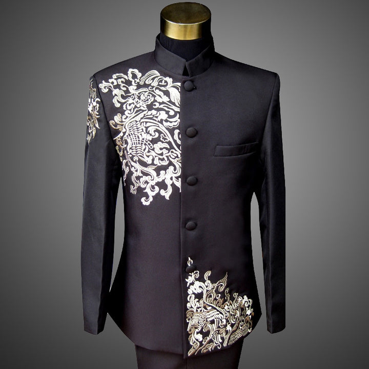 Men's Embroidered Blazer With Stand Collar