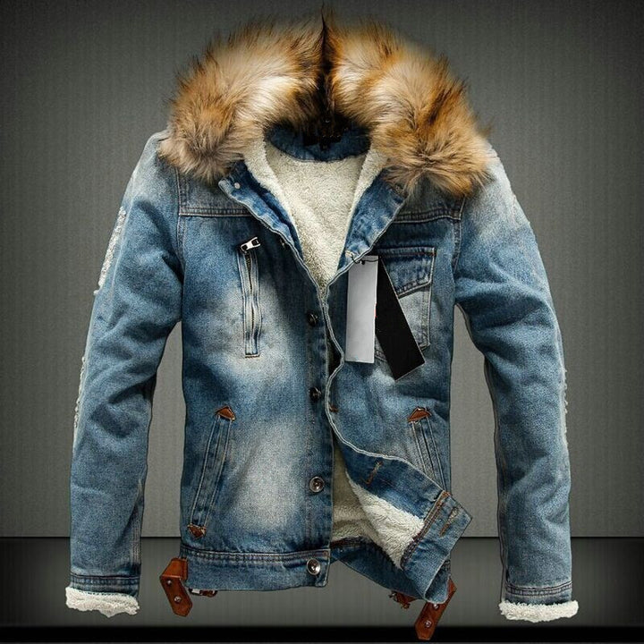 Men's Winter Casual Regular Denim Coat With Raccoon Fur