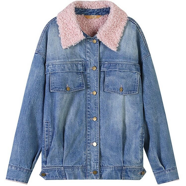 Women's Autumn Casual Denim Long-Sleeved Coat With Buttons