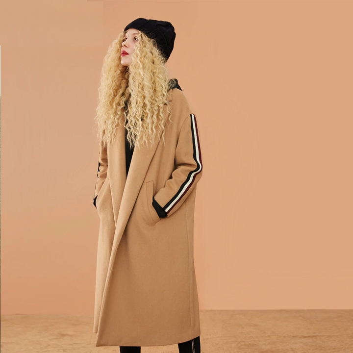 Women's Autumn Casual Long-Sleeved Wool Loose Long Coat