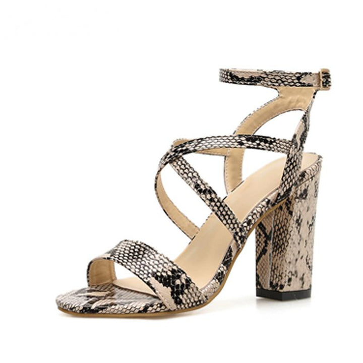 Women's Summer Leather Sandals With High Heels