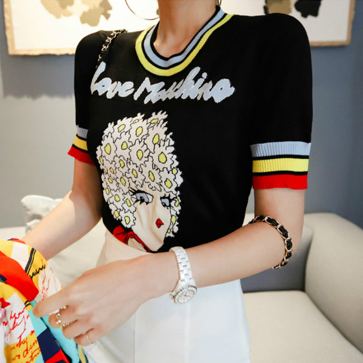 "Women's Summer Casual Short-Sleeved O-Neck ""Love Moschino"" Sweater"