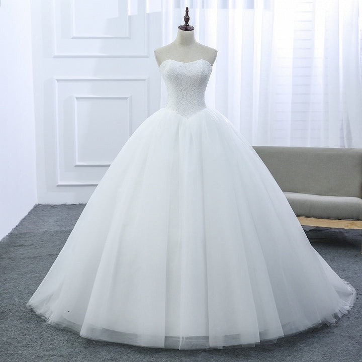 Women's Strapless Lace-Up Wedding Dress With Court Train