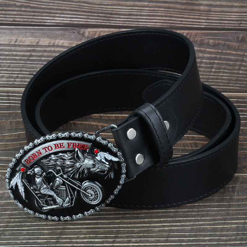 Men's Leather Motorcycle Belt