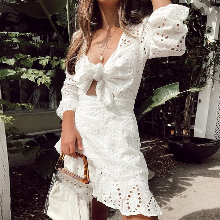 Women's Summer Casual A-Line Lace-Up V-Neck Dress