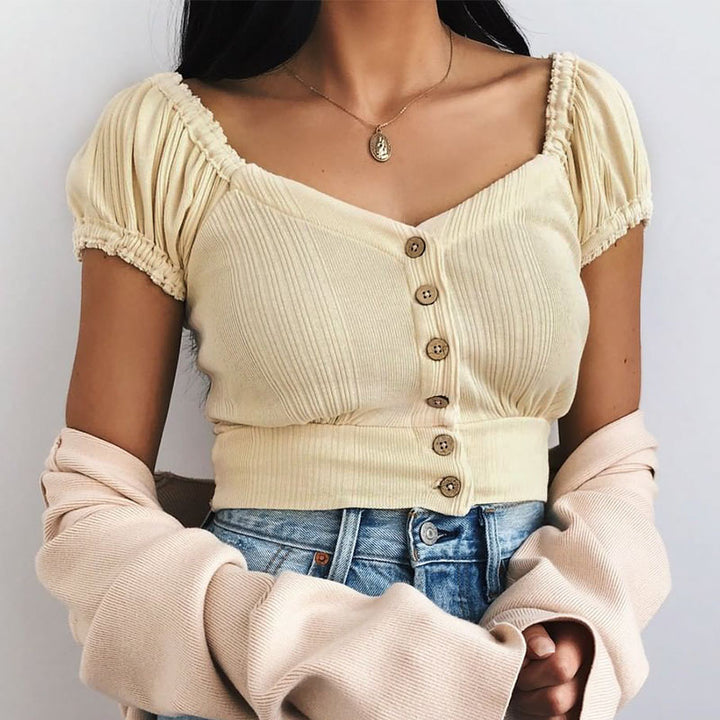 Women's Summer Puff-Sleeved Knitted Crop Top