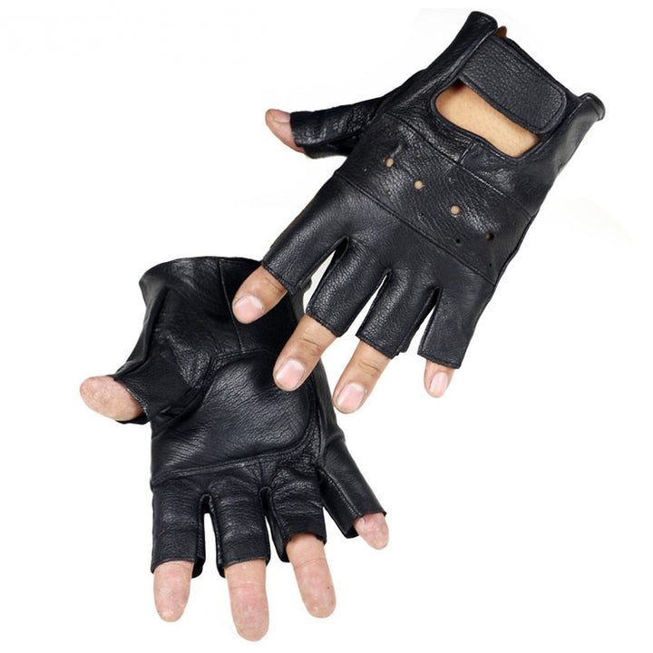 Men's Leather Fingerless Gloves For Fitness