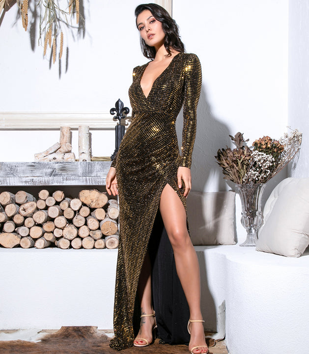 Women's Glitter V-Neck Long Dress