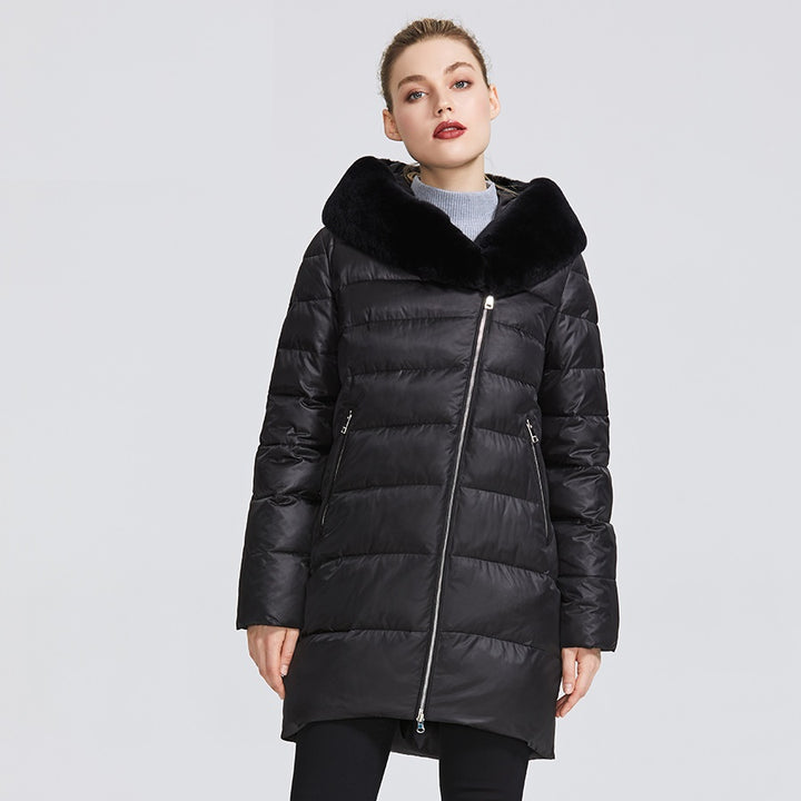 Women's Winter Windproof Hooded Parka With Rabbit Fur