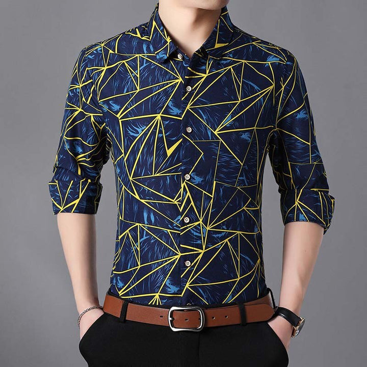 Men's Cotton Long Sleeved Shirt With Print | Plus Size