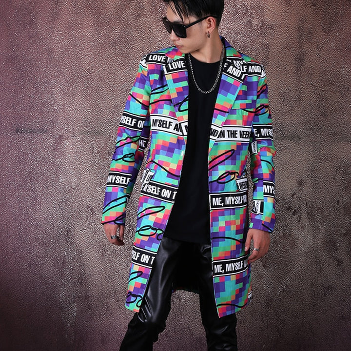 Men's Casual Long Blazer With Print