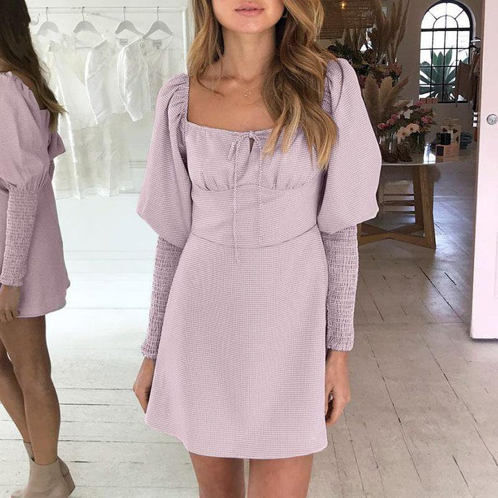 Women's Spring A-Line Puff-Sleeved Lace-Up Dress