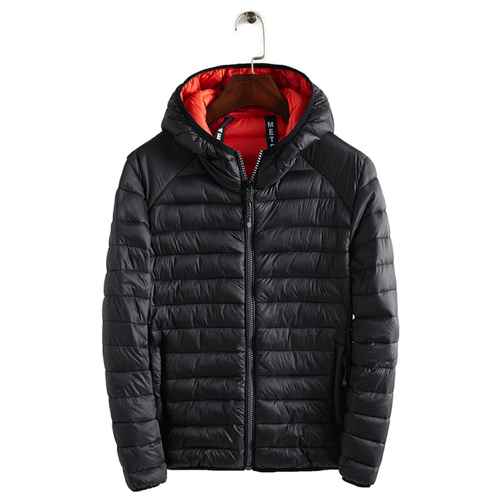 Men's Winter Casual Polyester Hooded Coat With Zippers