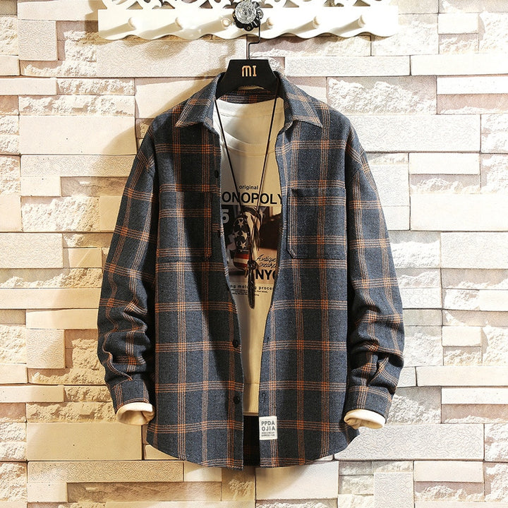 Men's Spring/Autumn Casual Long-Sleeved Shirt With Plaid Pattern