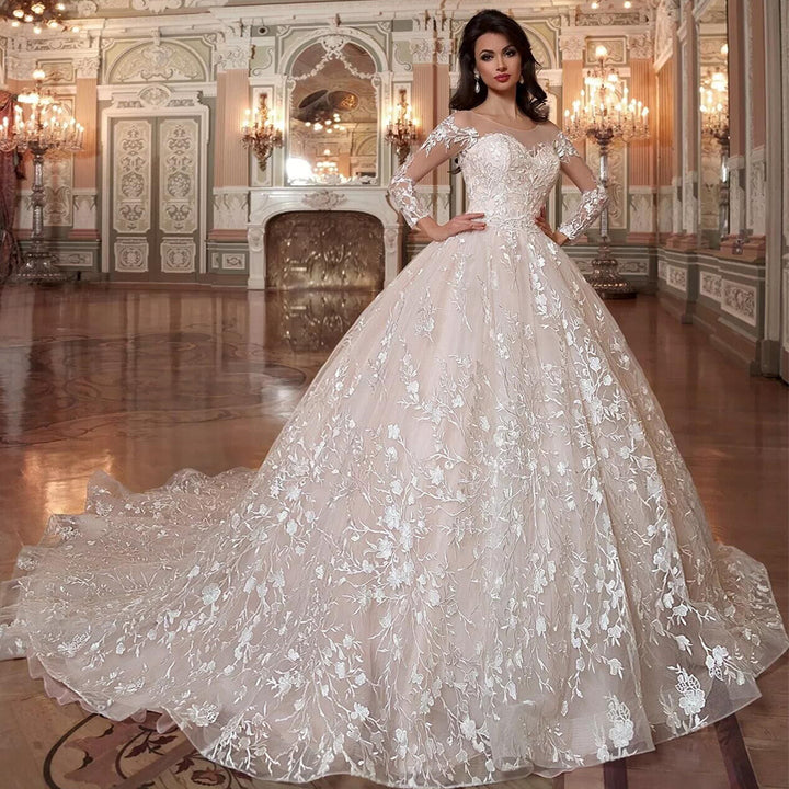 Women's Lace Shiny Long Wedding Dress With Court Train