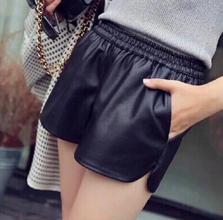 Women's Casual PU Leather Loose Shorts With Pockets