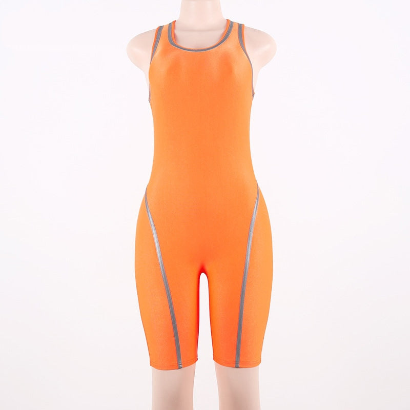 Women's Casual Spandex Reflective Striped Neon Fitness Suit