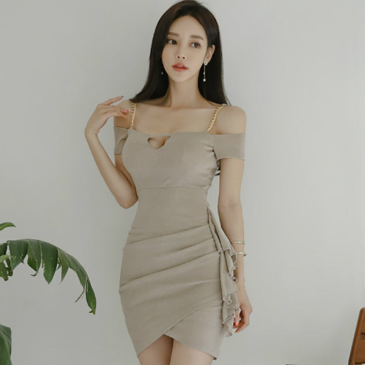Women's Summer Off-Shoulder Short-Sleeved Dress With Ruffles