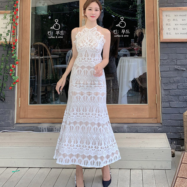 Women's Summer Sleeveless Long A-Line Lace Dress