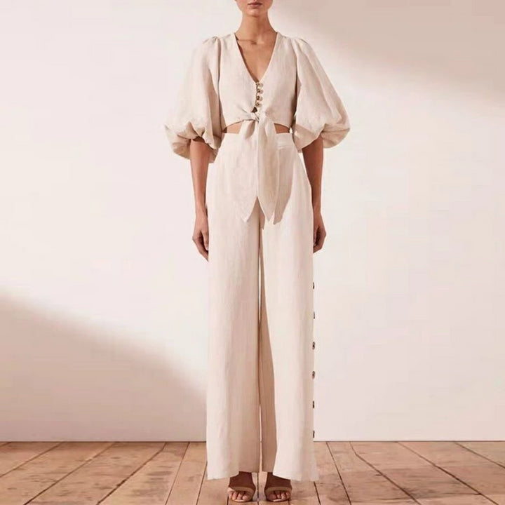 Women's Casual Polyester V-Neck High-Waist Two-Piece Jumpsuit
