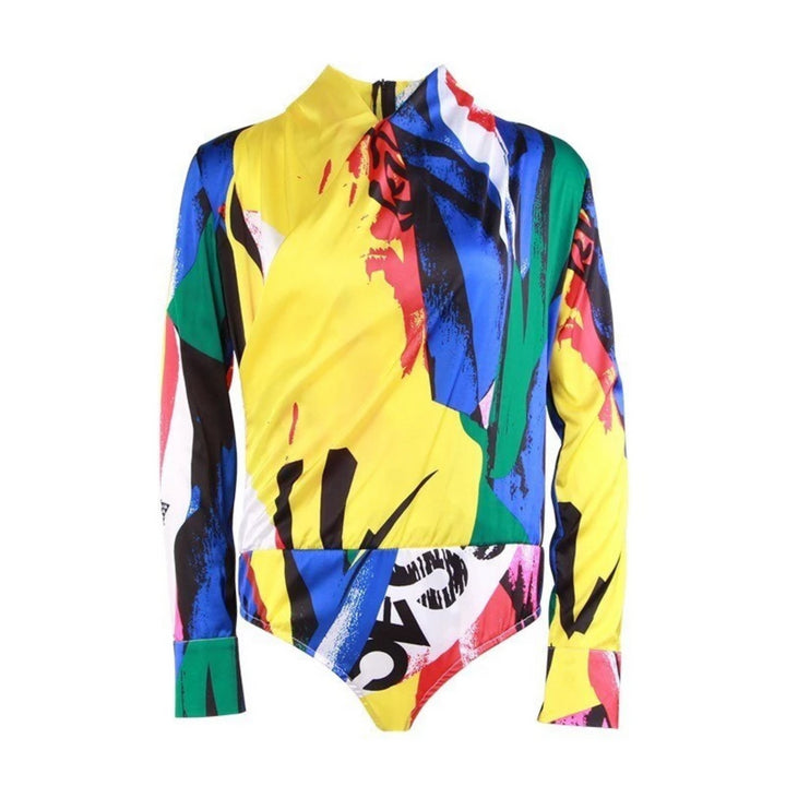 Women's Spring V-Neck Long-Sleeved Bodysuit With Print