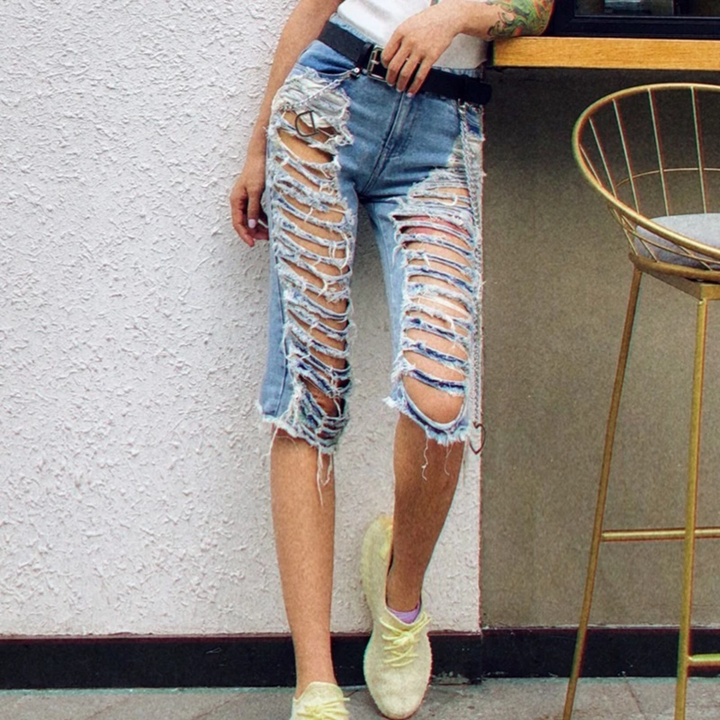 Women's Spring High-Waist Denim Capris With Ripped Holes