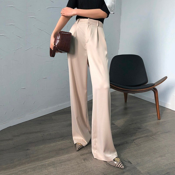 Women's Summer Polyester High-Waist Pants With Pockets