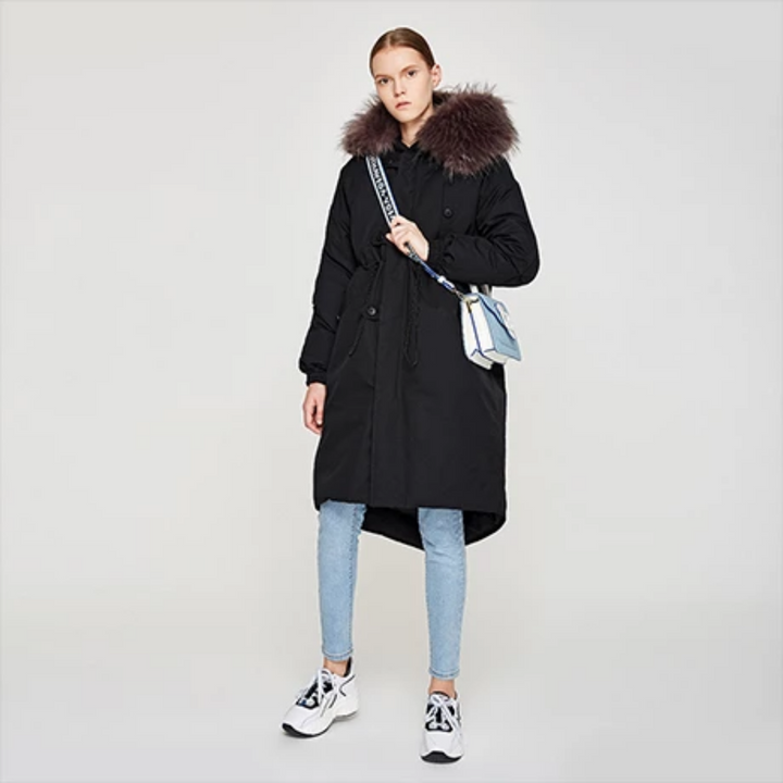 Women's Winter Polyester Hooded Long Coat With Pockets