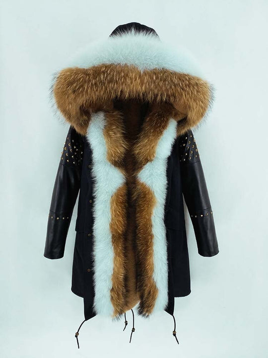 Women's Winter Casual Slim Genuine Leather Parka With Fox Fur