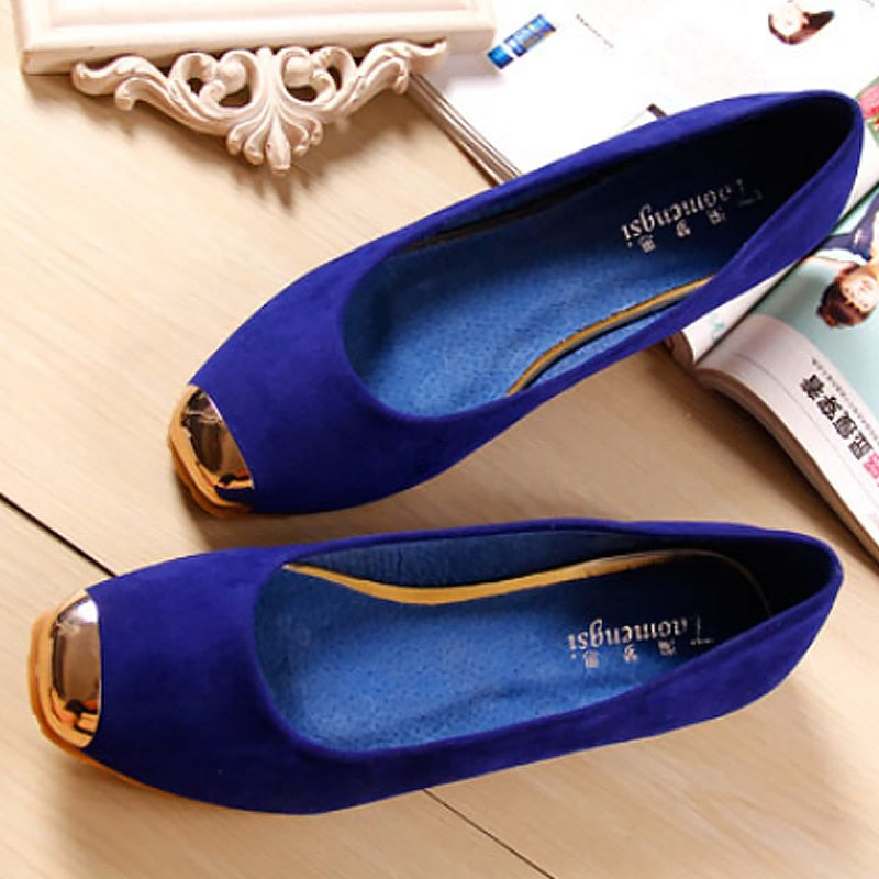 Women's Summer Leather Flats With Metal Toe | Plus Size