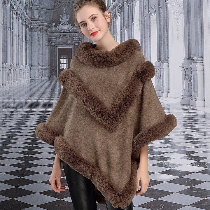 Women's Winter Casual Thick Loose Poncho With Faux Rabbit Fur