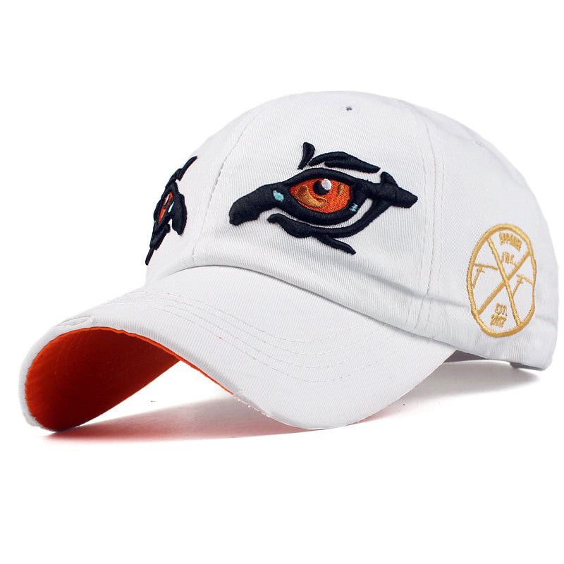Men's/Women's Cotton Baseball Cap With Embroidered Eyes