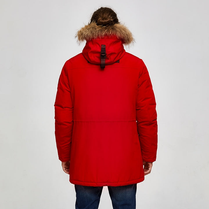 Men's Winter Casual Hooded Waterproof Parka With Pockets