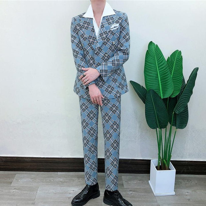 Men's Plaid Suit | Double Breasted Blazer And Pants