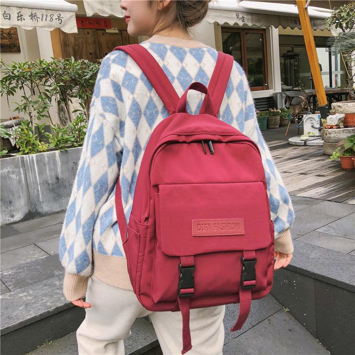 Women's Waterproof Nylon Backpack With Buckles