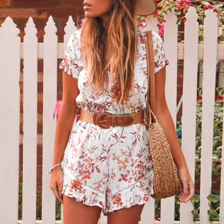 Women's Summer Loose V-Neck Loose Ruffled Romper