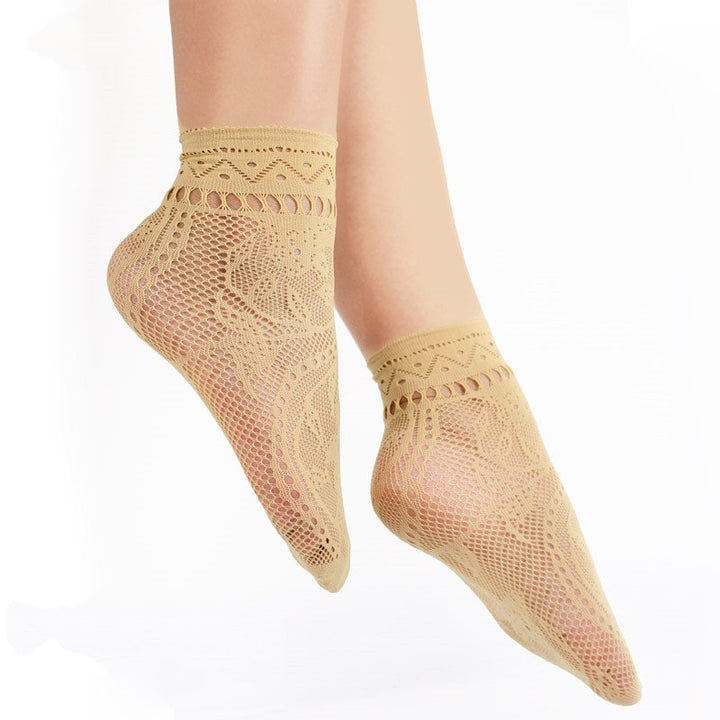 Women's Nylon Transparent Short Socks With Lace