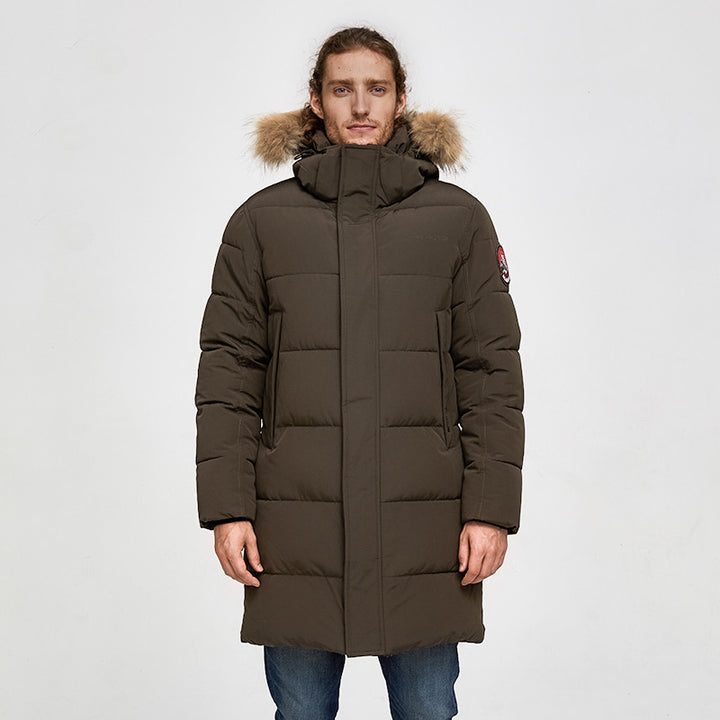 Men's Winter Casual Thick Waterproof Parka With Raccoon Fur