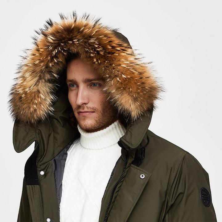 Men's Winter Casual Hooded Polyester Parka With Raccoon Fur