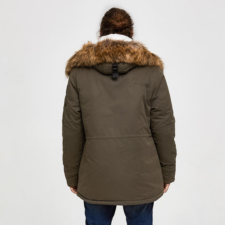 Men's Winter Casual Padded Thick Parka With Raccoon Fur