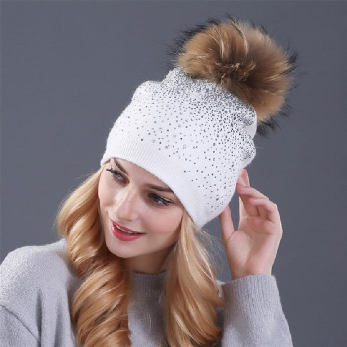 Women's Winter Knitted Hat With Pompom & Sequins