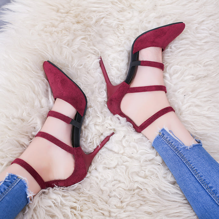Women's Spring Suede Shoes With High Heels & Pointed Toe
