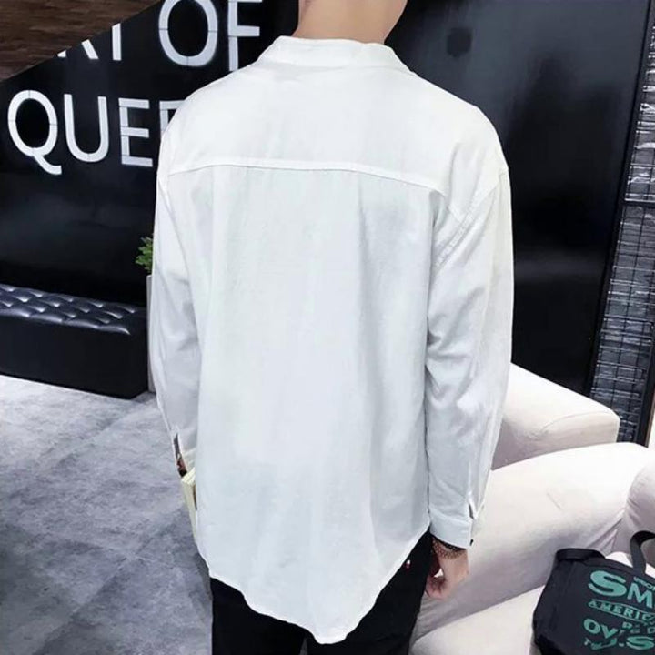 Men's Autumn Casual Long Sleeved Shirt With Mandarin Collar