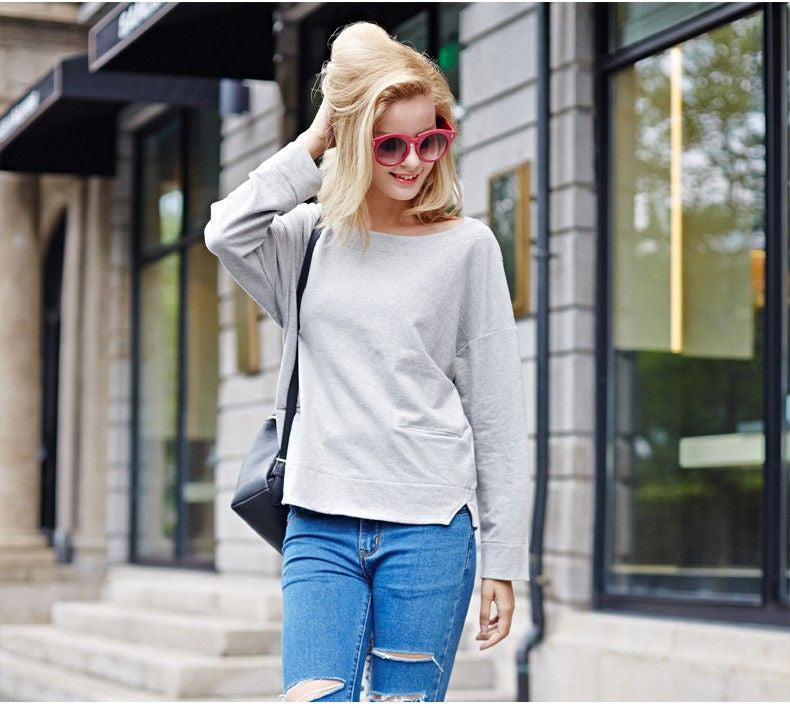Cotton Sweatshirt With Wide Neckline - Zorket