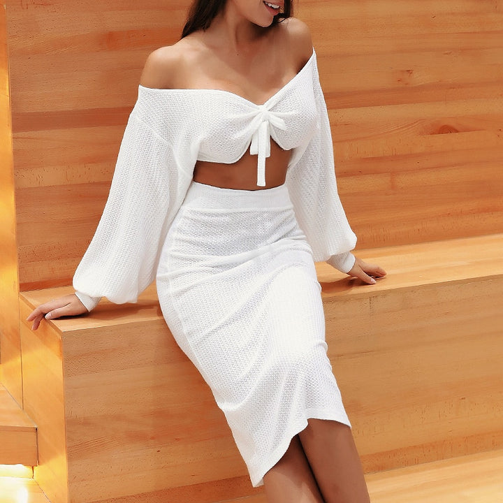 Women's Casual V-Neck Stretchy Two-Piece Dress