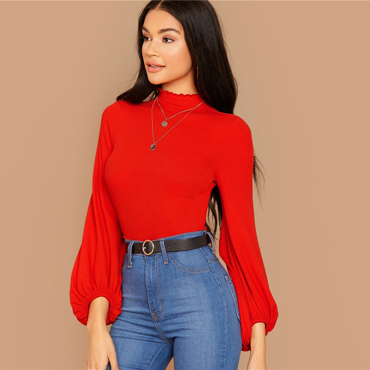 Women's Autumn Rayon Long-Sleeved High-Neck T-Shirt