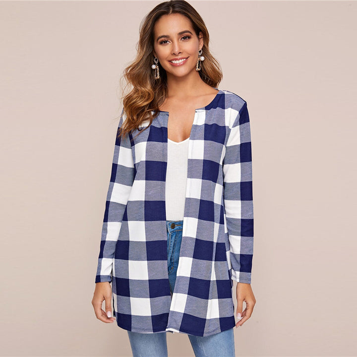 Women's Spring Casual Polyester O-Neck Cardigan With Plaid Print