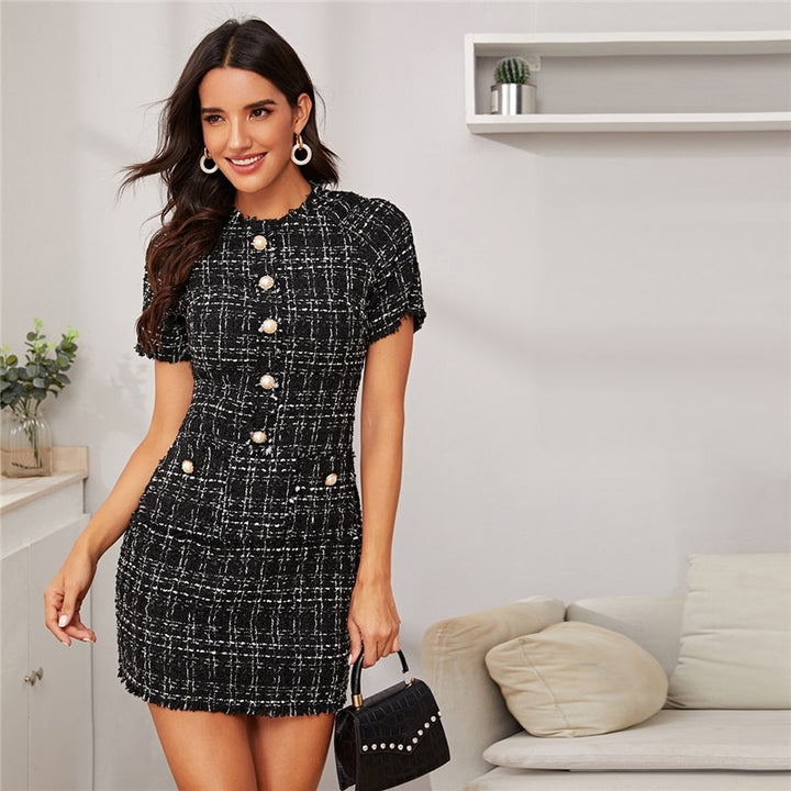 Women's Summer Short-Sleeved Mini Dress With Buttons